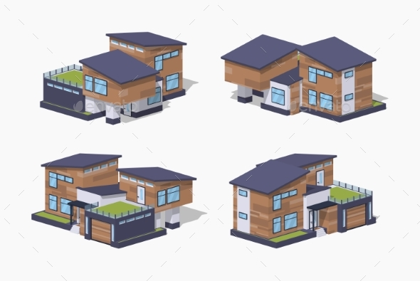 Low Poly Contemporary American House - Buildings Objects