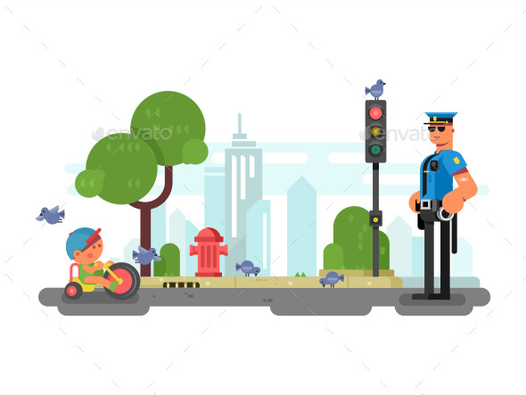 Police Officer On The City Street - Miscellaneous Vectors