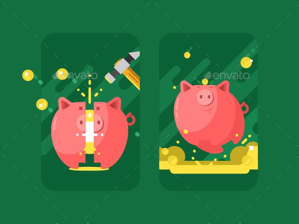 Piggy Bank With Money - Miscellaneous Vectors