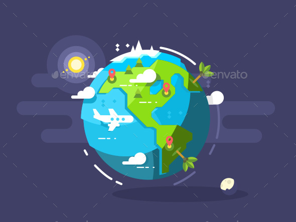 Aircraft Flying Around The World - Miscellaneous Conceptual