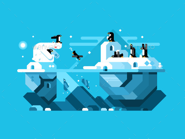 Arctic Polar Bear With Penguins - Animals Characters