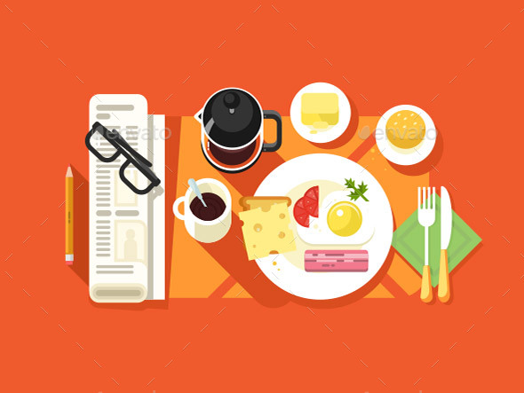 Breakfast Design Flat - Food Objects