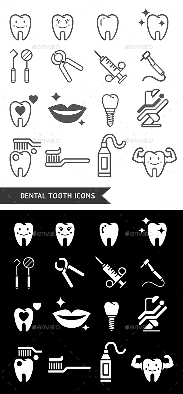 Dental Tooth Icons Set. - Icons