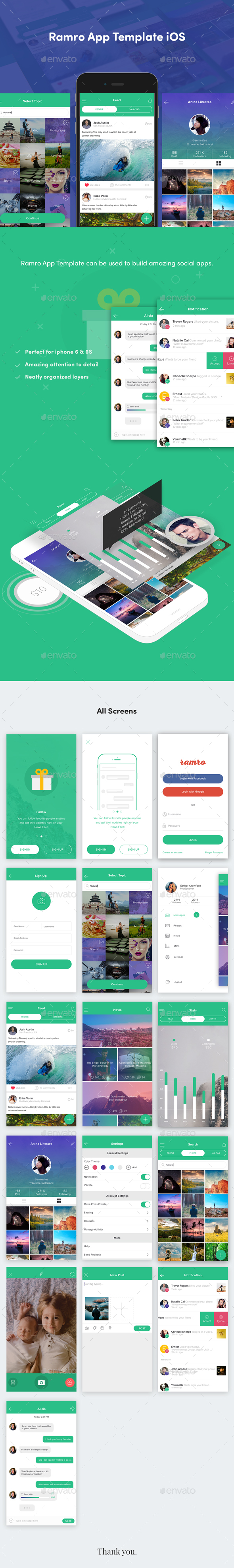 Ramro App Template iOS - User Interfaces Web Elements