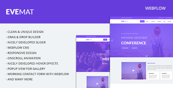 Image of Evemat | Event Webflow Template