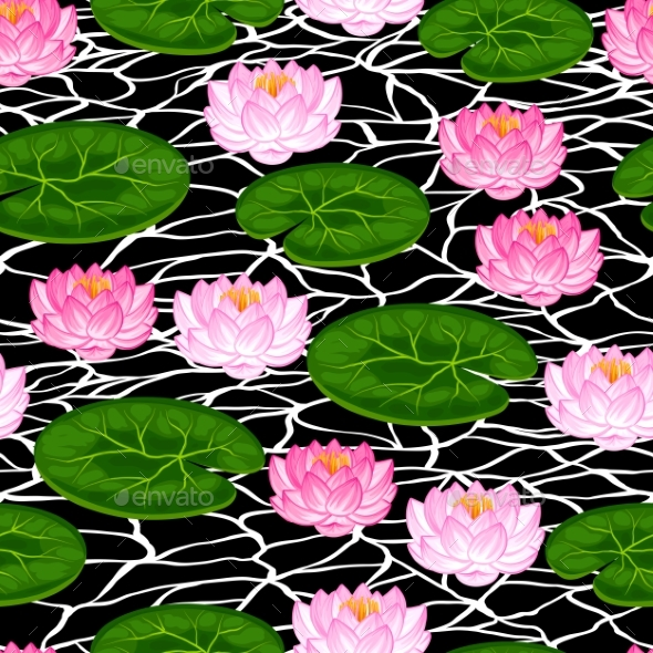 Natural Seamless Pattern With Lotus Flowers - Flowers & Plants Nature