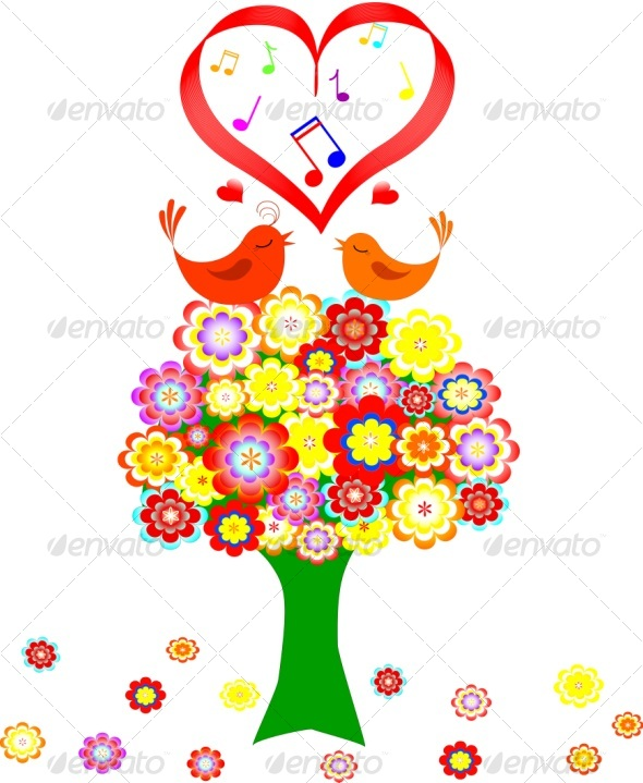 flowered tree with the birds - Weddings Seasons/Holidays