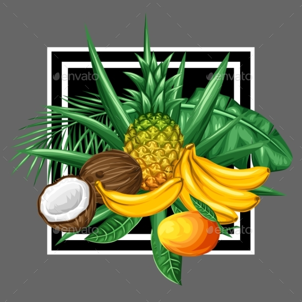 Background With Tropical Fruits And Leaves. Design - Food Objects