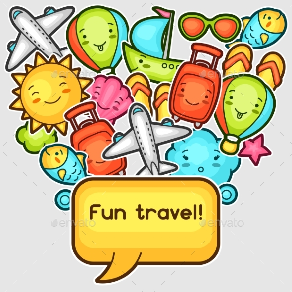 Cute Travel Background With Kawaii Doodles. Summer - Travel Conceptual