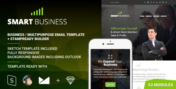 Business – Multipurpose Responsive Email Template + Stampready Builder
