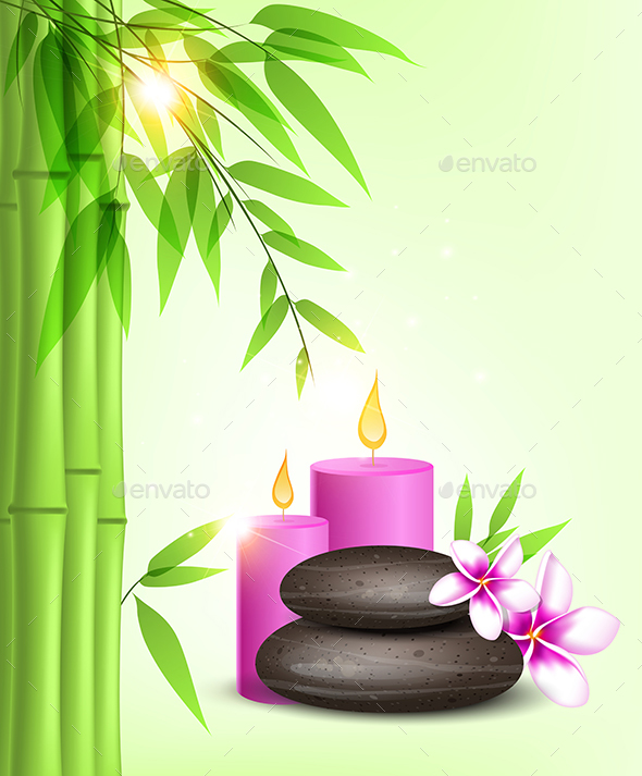 Spa Stones and Pink Candles - Health/Medicine Conceptual