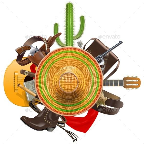 Vector Cowboy Concept with Sombrero - Retro Technology