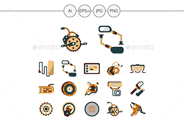 E-bike parts flat color icons set - Man-made objects Objects