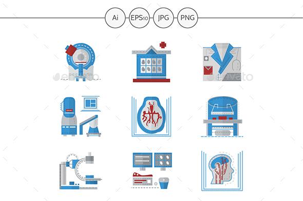 MRI equipment flat color icons