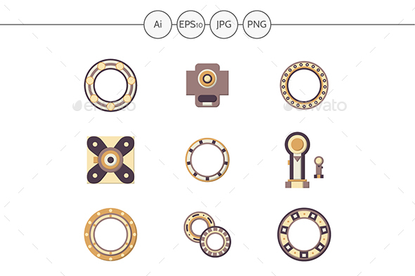 Mechanical bearings flat color icons - Man-made objects Objects