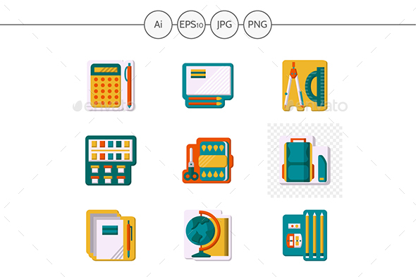 School supplies flat color design vector icons - Miscellaneous Icons