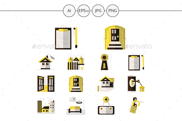 Rental of property yellow flat icons - Buildings Objects