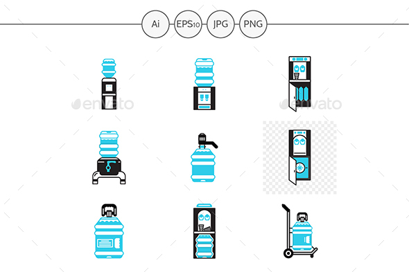 Water cooler service black and blue vector icons - Man-made objects Objects