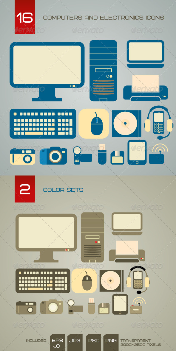 Computers And Electronics Icons - Technology Conceptual
