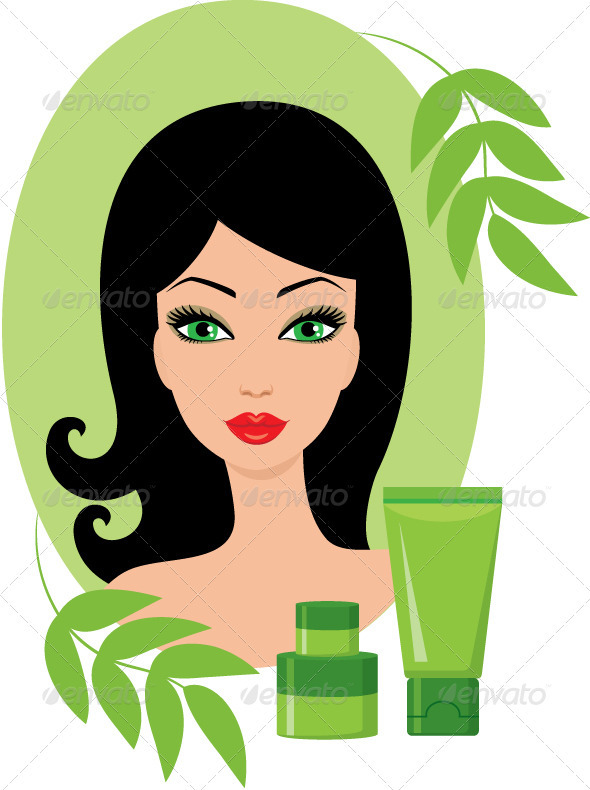 Beautiful young woman with a cosmetics set - People Characters