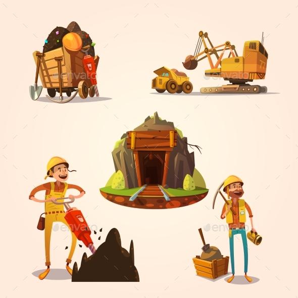 Mining Cartoon Set - Decorative Symbols Decorative