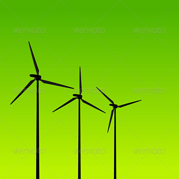 Eco Energy Turbines on Green - Technology Conceptual