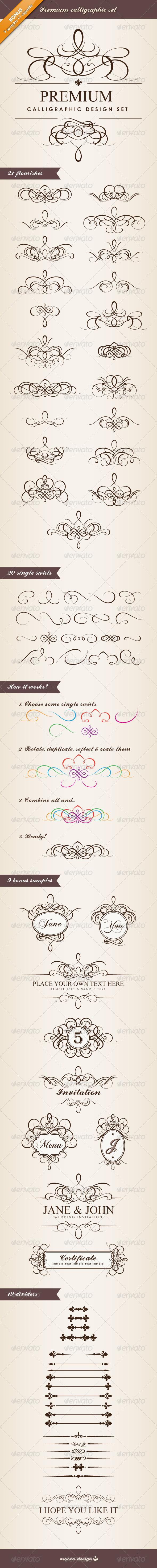 Premium Calligraphic Design Set - Flourishes / Swirls Decorative