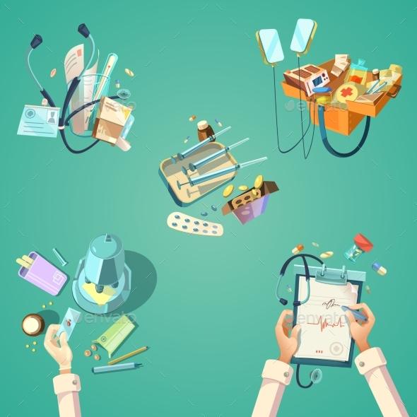 Medical Cartoon Retro Set - Health/Medicine Conceptual
