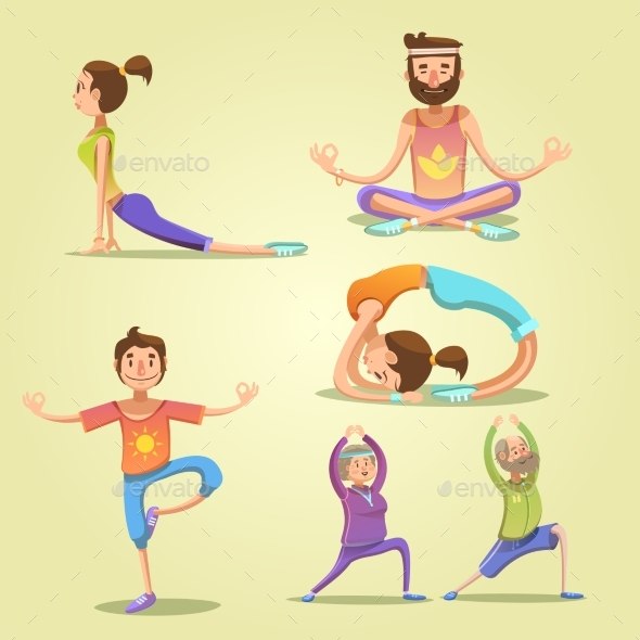 Yoga Retro Cartoon Set - People Characters