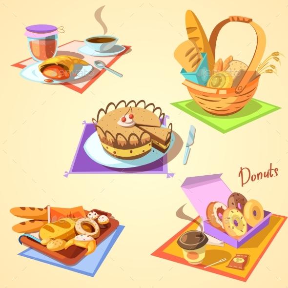 Bakery Cartoon Set - Food Objects