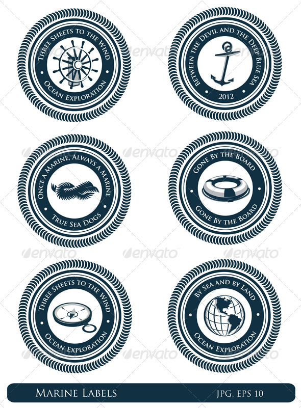 Nautical Labels With Marine Slogans - Decorative Symbols Decorative