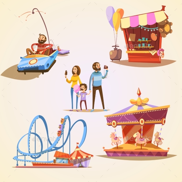 Amusement Park Cartoon Set - Commercial / Shopping Conceptual