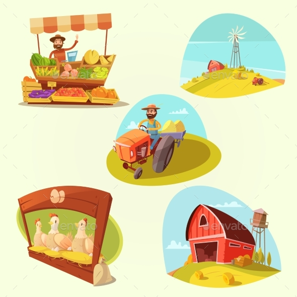 Farm Cartoon Set - Organic Objects Objects