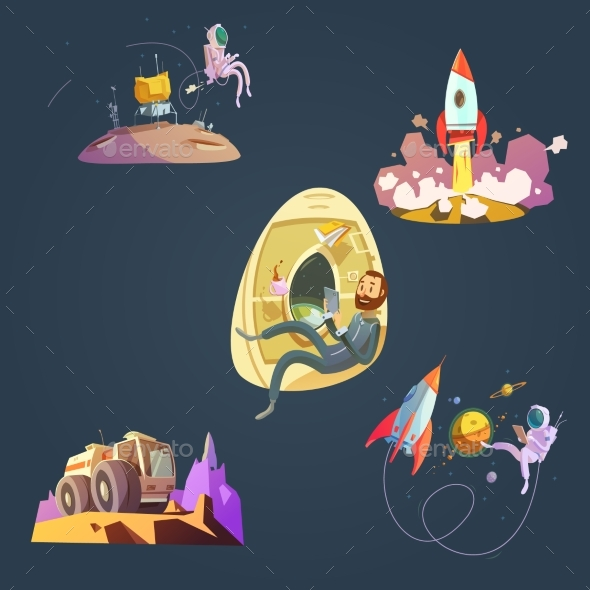 Space Cartoon Set - Technology Conceptual