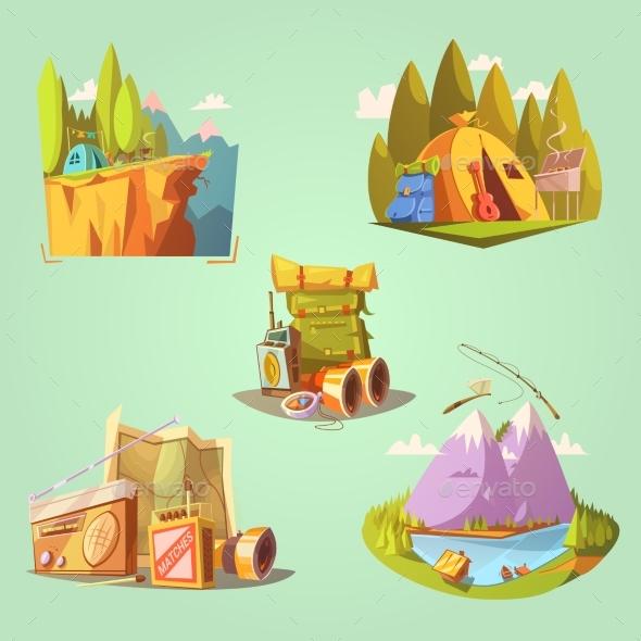 Hiking Cartoon Set - Travel Conceptual