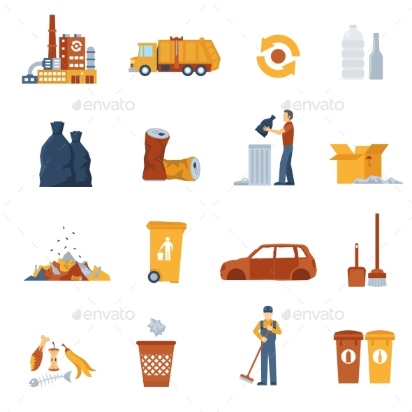 Garbage Color Icons - Man-made objects Objects