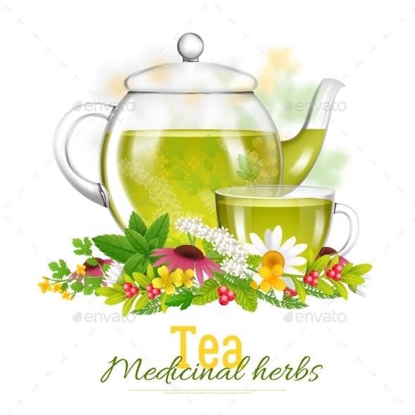 Teapot And Tea Cup Medicinal Herbs Illustration - Health/Medicine Conceptual