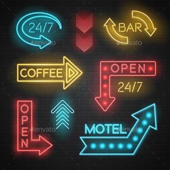 Motel And Bar Neon Arrows Set  - Industries Business