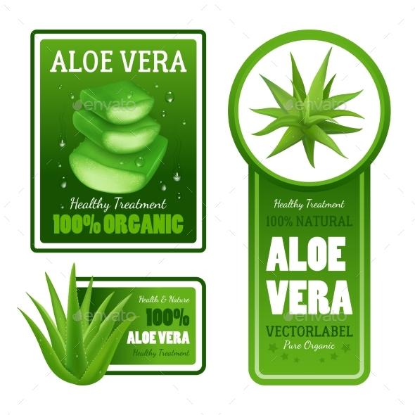 Aloe Vera Leaves Label Banners Set - Decorative Vectors