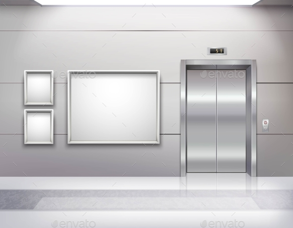 Elevator Hall Interior - Backgrounds Decorative