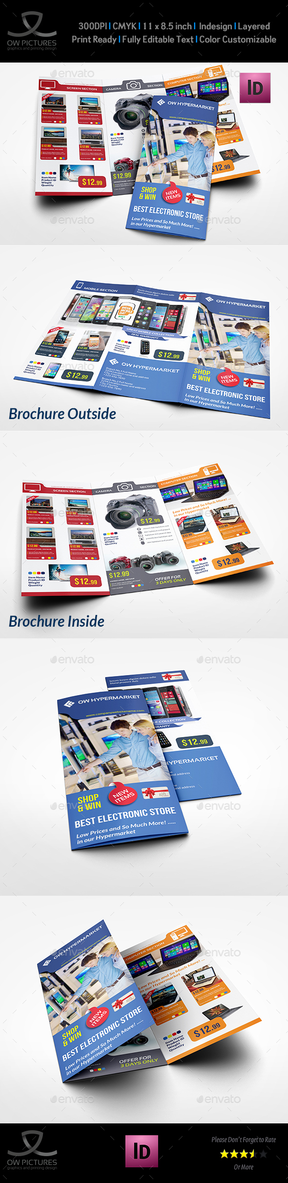 Electronics Products Catalog Tri-Fold Brochure Template - Catalogs Brochures