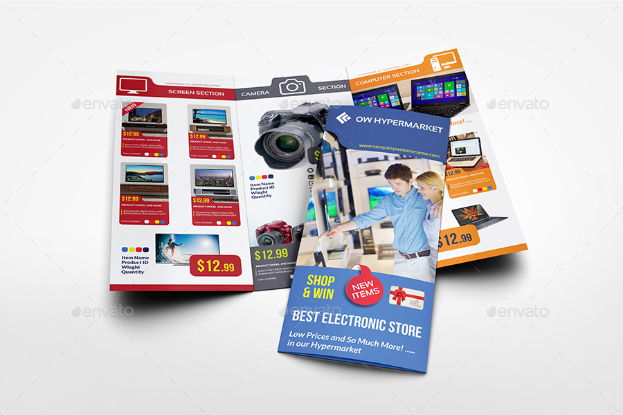 Electronics Products Catalog TriFold Brochure Template By OWPictures - Product brochure template