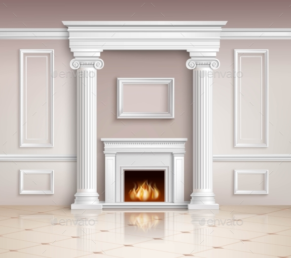Classic Interior With Fireplace Design  - Buildings Objects