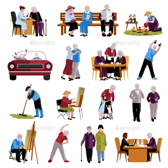 Elderly People Icons Set  - People Characters