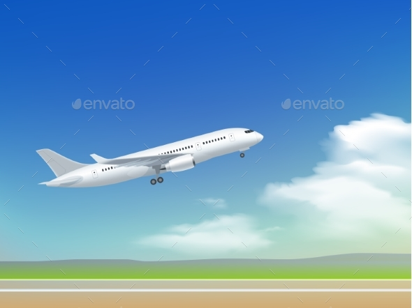 Airplane Takeoff Poster - Travel Conceptual