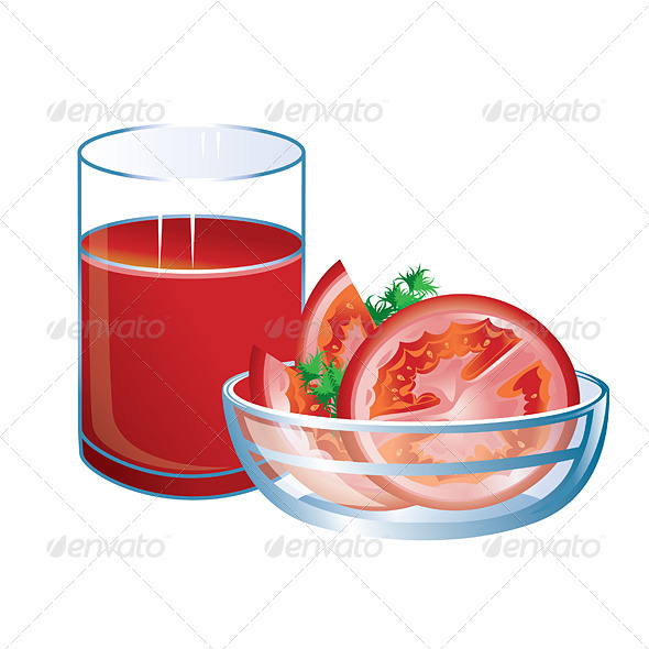 Tomato juice with glass and tomatoes. - Food Objects