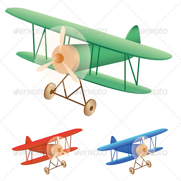 Old biplane - Man-made Objects Objects