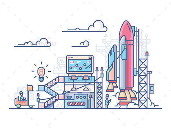 Startup Rocket Launch - Miscellaneous Conceptual
