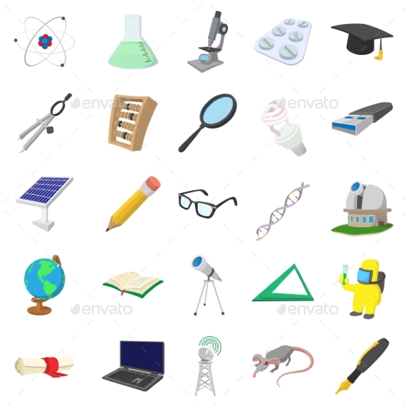 Science Icons Set, Cartoon Style - Miscellaneous Icons