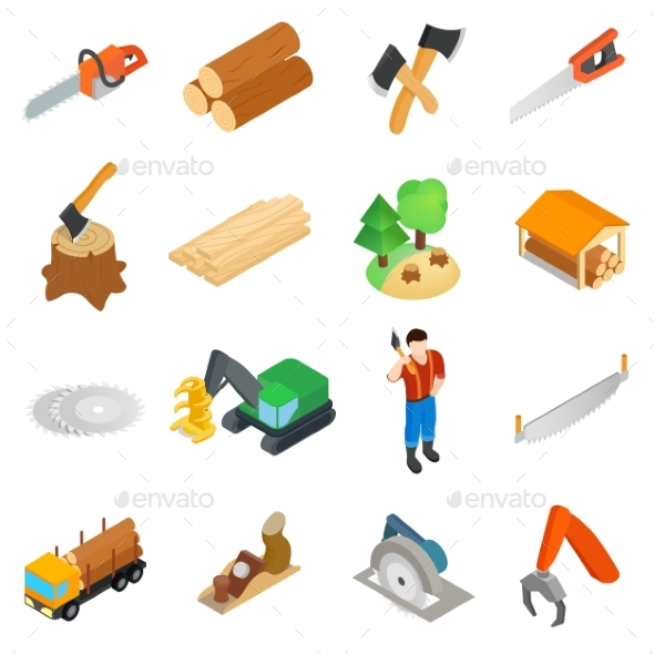 Lumberjack Icons Set, Isometric 3d Style - Miscellaneous Icons